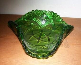 Green Glass Candy / Condiment / Trinket Dish Vintage