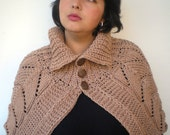 Lace Natural Beige  Capelet Super soft mixed   wool Cape Woman Capelet Womens Fall Winter Accessories NEW