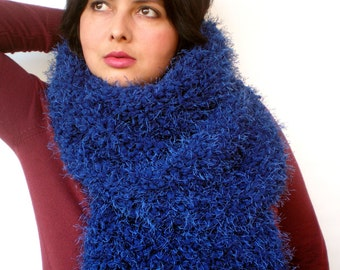 Navy Blue Fluffy Scarf Soft   Big  Neckwarmer Women Fashion  Chunky  Knit  Scarf NEW