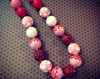 Pink and Red Chevron Chunky Bead Necklace...Necklaces...Childrens Jewelry...Chunky Beads...Jewelry...Girls Necklaces
