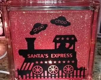 Custom Express Train (Santa or your Child's Name) on Glittery Glass Block Nightlight, Nursery, New Baby Shower Gift, Christmas, Birthday