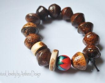 Unique natural jewelry - rustic bracelet - yoga accessory - organic - real acorn - zen