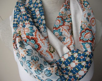 Women's Blue floral scarves-floral print chiffon fabric infinity scarf-gifts for her-woman fashion accessory -linen scarf -loop-circle scarf