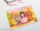 "Animal princess painting, native american indian inspired, collectible art card, miniature art,"" American Indian Princess "" Aceo print"