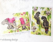 Australian birds greeting card set, notecard set, stationary set, Red tail black cockatoos, pink and grey galah's, parrot cards 5x7 inches