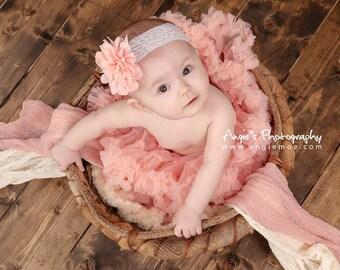 Vintage Headband, Lace Headband, Baby Headband- Peach Chiffon Lace Baby Headband