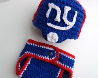 Crochet Newborn NY Giants Football Hat and Diaper Cover- Photo Prop- Baby boy baby girl