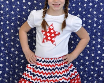 4th of July Red White and Blue Skirt Shirt Outfit and Headband SET Toddler Girl Little Girl