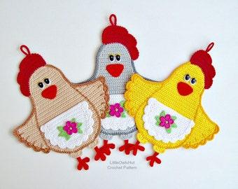 067 Lady Chicken decor or potholder - Amigurumi Crochet Pattern - PDF file by Zabelina Etsy