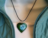 In Her Eyes Blue And Green Heart Alcohol Ink Art Necklace