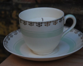 Vintage teacup candle - pale green and gold swirls