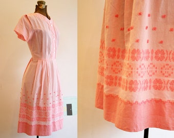 Early 1960's Pink Cotton Dress / Embroidered Border Design / Large