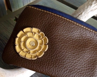 "Chestnut Brown Leather ""Finglet"" Purse & Sunshine Yellow Flower - Soft Leather Purse - One Of A Kind - Handmade - Gifts for Her"