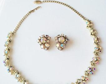 Lovely Aurora Borealis Rhinestone Necklace & Earring Set, Vintage Necklace, Bridal Jewelry, Rhinestone Collar