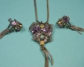 Purple Art Deco Vintage Jewelry Set, Classic Elegance, 50s