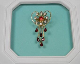 Red Floral Rhinestone Brooch ior Pin, Goldtone, Feminine, Classic Vintage