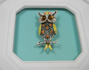 Art Or Modeart Owl Brooch or Pin, Flowered Detail, Vintage