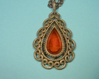 Avon Granada Necklace, 1973 Orange Ornate Gold Tone Frame, Book Piece, Signed