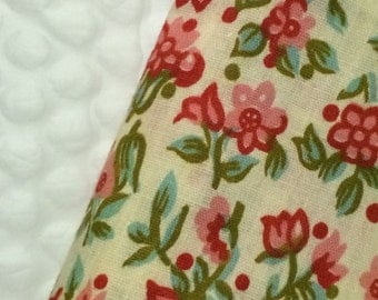 Vintage Floral Cotton Fabric 4 Yards 36 Width