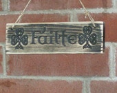 Failte Sign Free Shipping! Carved Gaelic Distressed Wood  Welcome Entry Plaque