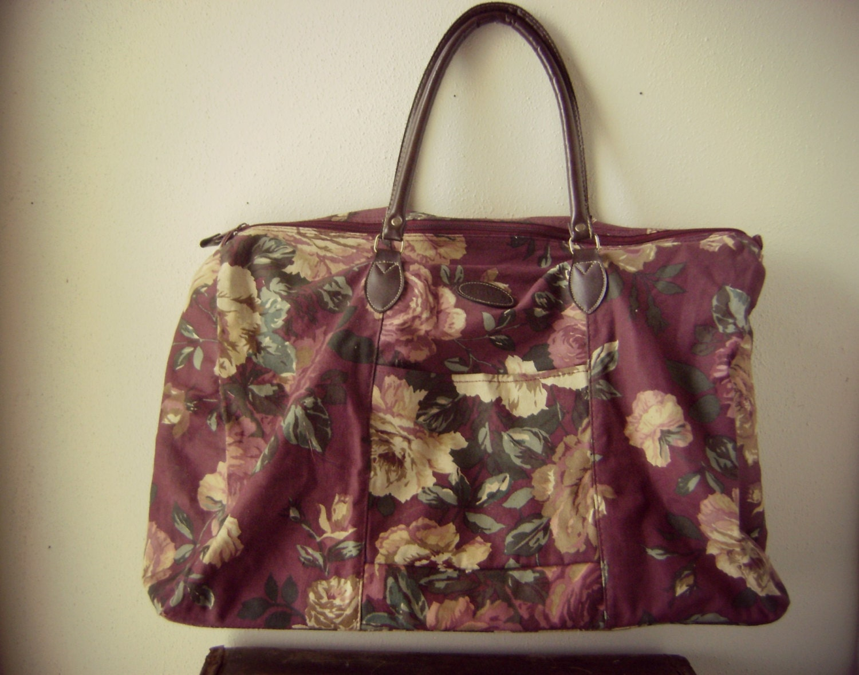 90s Floral Weekender Duffle Bag Vintage 1990s Gitano Oversized