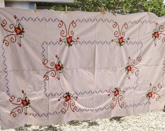 Beautiful Handmade Cross Stitch Large Tablecloth 88 inches long 52 inches wide