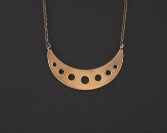 Bronze Crescent Necklace with Geometric Circles- Short