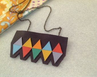Colourful leather diamonds statement necklace on a chain