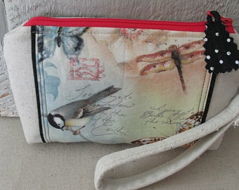 Birds Butterflies Dragonfly Writing Canvas Zippered Pouch Wallet Credit Card Pockets Wristlet