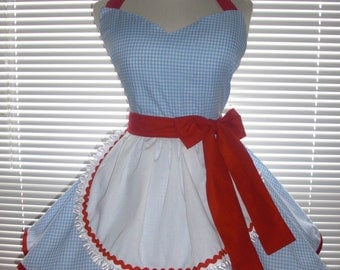 Retro French Maid Apron Blue and White Gingham Check with Red Accents Inspired Costume Apron