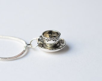 Tea Cup Charm Necklace - Coffee Cup Metal Charm Necklace