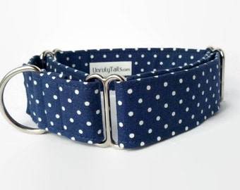 Nautical Navy Pin Dot Adjustable Dog Collar - Martingale Collar or Side Release Buckle Collar  - Tiny polka dots on navy blue