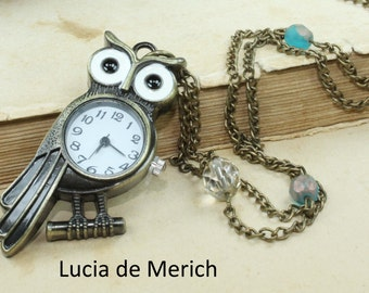 Antique  owl Pocket Watch Necklace . Woodland necklace.-Coupon code - Black friday - Cyber monday