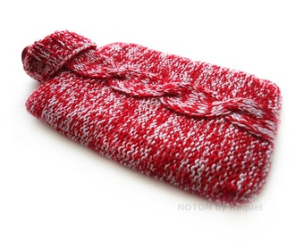 Red Dappled Cable Knit Hot-water Bottle Cover