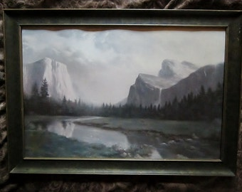 Vintage Yosemite National Park Print Retro Mountains Print Printed in the USA Framed Ready to Hang Landscape Art