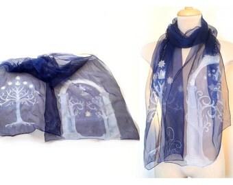 Gondor white tree Moria gate, Silk scarf