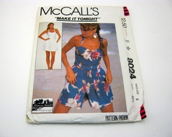 McCall's 8024 Pattern 1980's  Skirt, Camisole,Collutes Size 6  Vintage