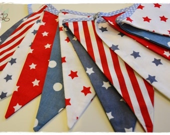 American Dream Garland - Bunting Banner . Flag Bunting . Pennant Banner . Flag Garland . Party Decoration . Fabric Bunting .