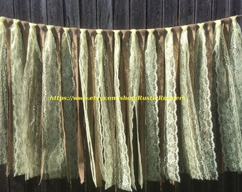 Rustic Barn Wedding Burlap and Lace Garlands, Swag, Rag Tie Backdrop, Lace Curtain, Pastel yellow lace hanging wedding decoration, backdrop
