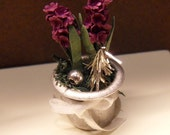 Two hyacinths with decoration in a zink pot