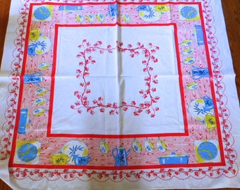 Sale--MCM Pink Spring Tablecloth With Decorative Border