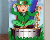 Pop up Leprechaun pot of gold and rainbow card