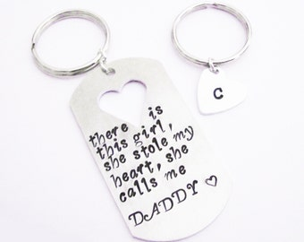 Daddy Daughter Keychains Set There is this Girl she stole my heart she calls me DADDY Father's Day Gift His Hers Personalized dad initial