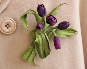 Linen gift for her, 4th wedding anniversary, purple flowers, linen brooch, linen anniversary, linen jewelry, linen flower, tulip jewelry