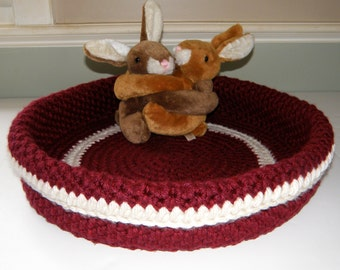 Ready TO SHIP, Soft Cat Bed Very Large Crocheted Travel Cat Bed For 2+, Baby Basket Photography Prop, Large Storage Bin, Wine Red with Bone