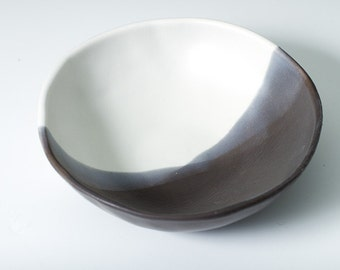"""15% off 6.5"""" Matte Grey, Black and White Porcelain Bowl, Pottery Ceramic - Snack, Ice Cream, Dessert, Display - Hand made - ready to ship"""