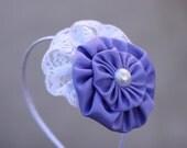 Ava lavender headband - satin layered flower, white pearl, white lace, hard headband