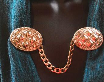 """Sweater Pins: Golden """"Pillow"""" Medallions"""