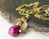 Ruby Necklace, Gold-filled Wire Wrap, Gold Leaf Charm, fine gemstone necklace, red gemstone, feminine, July birthstone, gift for her, NL2854