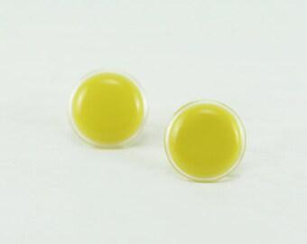 Lemon Yellow Stud Earrings 18mm - Bright Lemon Yellow Earrings - Big Yellow Earring - Round Earrings - Surgical Stainless Steel - Gift Ideas